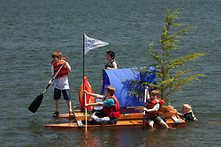 "United States, Washington, Seattle, Lake Washington. ""Milk Carton Derby"", home-made boats compete."