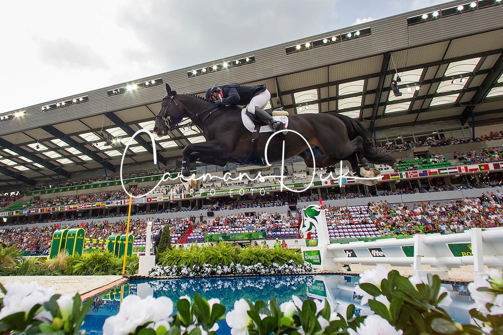 Simon Delestre, (FRA), Qlassic Bois Margot - World Champions, - Second Round Team Competition - Alltech FEI World Equestrian Games&trade; 2014 - Normandy, France.<br /> &copy; Hippo Foto Team - Leanjo De Koster<br /> 25/06/14