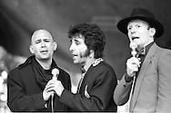 Dave Gittins aka Red Stripe, Brian Hibbard and Gareth Williams, The Flying Pickets perform at Marx with Sparks. Alexander Palace.