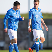 East Fife v St Johnstone...09.07.14  Pre-Season Friendly<br /> Steven MacLean celebrates his goal siants third with Michael O'Halloran<br /> Picture by Graeme Hart.<br /> Copyright Perthshire Picture Agency<br /> Tel: 01738 623350  Mobile: 07990 594431