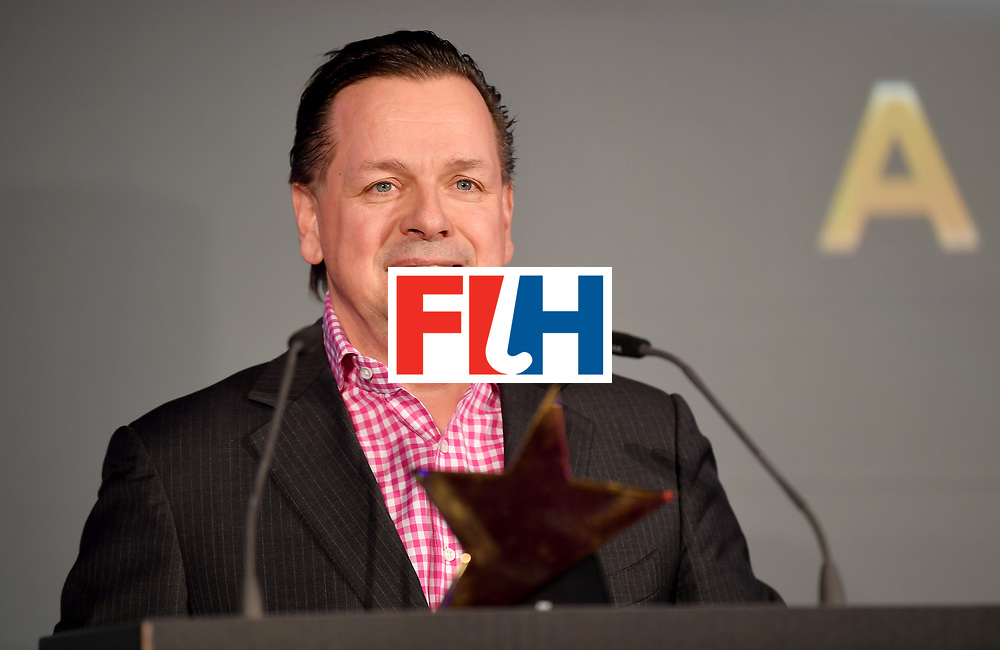 BERLIN, GERMANY - FEBRUARY 05:  The interim President addresses the audiance during the Hockey Star Awards night at Stilwerk on February 5, 2018 in Berlin, Germany.  (Photo by Stuart Franklin/Getty Images For FIH)