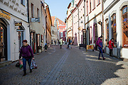 Pedestrian street in the South Bohemian city of Tabor. A group of Jan Hus followers came to a hill where a Premyslid settlement used to be and they founded a town there in the year 1420 and gave it a Biblical name - Tabor. Being led by captains Jan Zizka of Trocnov and Prokop Holy they started out on their victorious battles from there. The foundation of Tabor is connected with the name of Jan Hus, a great reformer of the Catholic Church. In the year 1437 after the Hussites were defeated, the town of Tabor was granted a royal charter by the Holy Roman Emperor and Czech King Sigismund of Luxembourg.