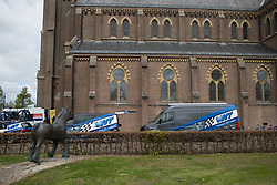 Team WNT parked near the church before of the Omloop van Borsele - a 107.1 km road race, starting and finishing in s'-Heerenhoek on April 22, 2017, in Borsele, the Netherlands.