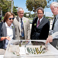 Santa Monica City Librarian Greg Mullen (right to left) discuses the new library with Mayor Richard Bloom, City Manager Rod Gould and Council Member Gleam Davis during the Pico Branch Library  groundbreaking ceremony at Virginia Avenue Park on Wednesday, August 15, 2012.