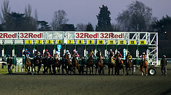 Horses at the start of the Racing TV Apprentice handicap stakes at Kempton Park Racecourse, Esher.