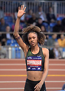Feb 9, 2019; New York, NY, USA; Vashti Cunningham reacts   during the women's high jump at the 112th Millrose Games at The Armory. Cunningham won at 6-4 3/4 (1.95m).