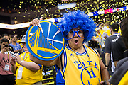 A Golden State Warriors fan celebrates a victory over Cleveland Cavaliers during Game 2 of the NBA Finals at Oracle Arena in Oakland, Calif., on June 4, 2017. (Stan Olszewski/Special to S.F. Examiner)