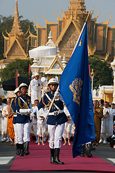 © Licensed to London News Pictures. 01/02/2013. Location, Cambodia. Funeral Procession of Late former King Norodom Sihanouk leaves the Royal Palace  ahead of his Feb. 4, cremation Friday, Feb. 1, 2013, in Phnom Penh, Cambodia.  Photo credit : Charles Fox/LNP