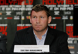 August 30, 2007; New York, NY, USA; WBO Heavyweight Champion Sultan Ibragimov speaks during the final press conference for his upcoming fight against Evander Holyfield.  The two will meet on Saturday, October 13th, at the Khodynka Ice Palace in Moscow, Russia.