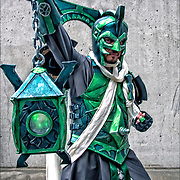 Cosplay attendee in his costume, as  Arcane Green Lantern at the  New York Comic Con convention.<br />