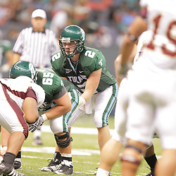 20 September 2008: Tulane quarterback Kevin Moore (2) under center during a Conference USA match up between the University of Louisiana Monroe and Tulane at the Louisiana Superdome in New Orleans, LA.
