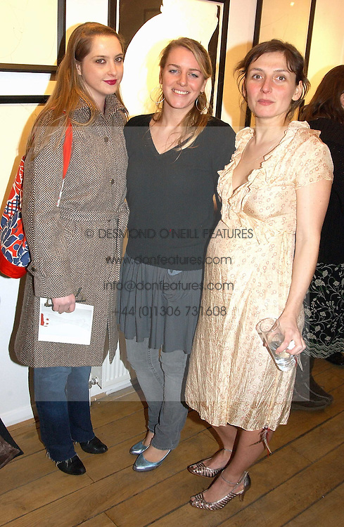 Left to right, DAISY DE VILLENEUVE, LAURA PARKER BOWLES and artist NATASHA LAW at a private view of artist Natasha Law's work entitled 'Hold' held at Eleven, 11 Eccleston Street, London SW1 on 12th January 2006.<br />