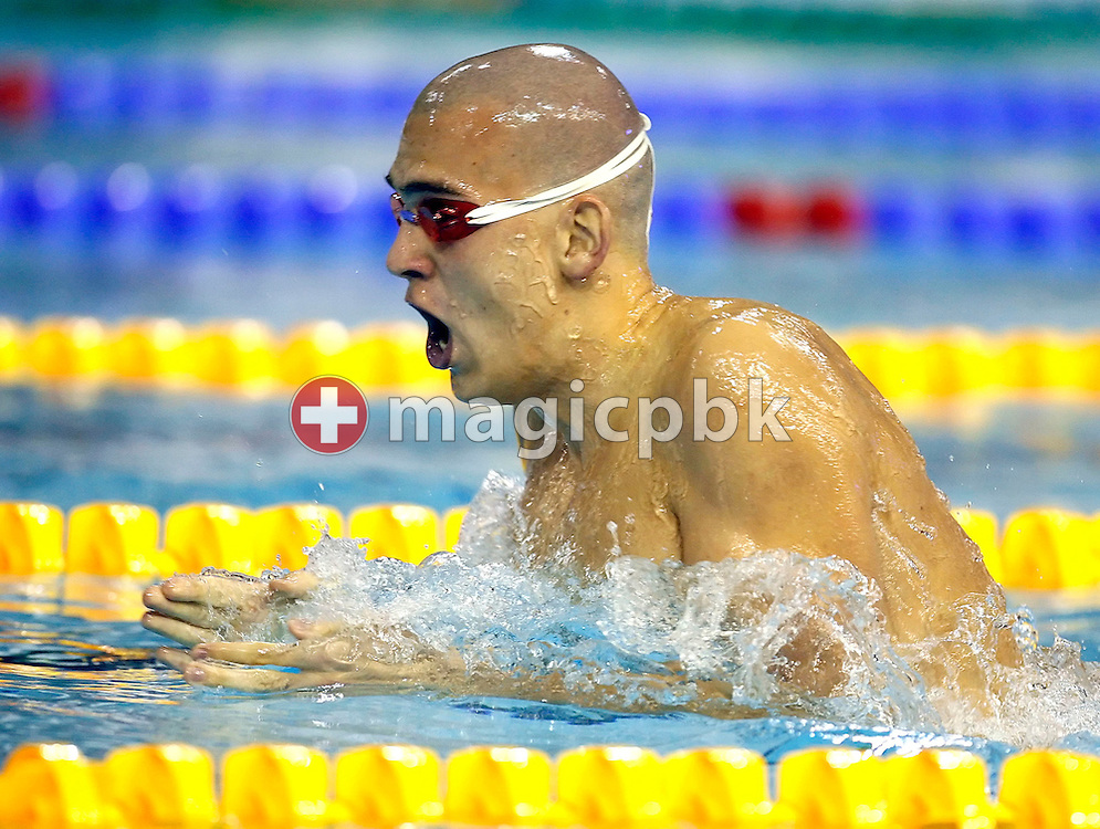 Laszlo CSEH of Hungary swims on the breaststroke leg in the men's 400m individual medley (IM) final on day two at the European Short-Course Swimming Championships at the Maekelaenrinne Swimming Centre in Helsinki, Finland, Friday December 8, 2006. (Photo by Patrick B. Kraemer / MAGICPBK)