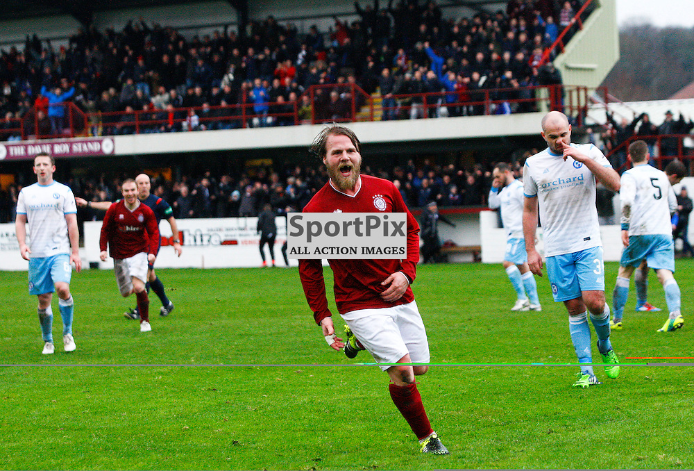 Graham Weir (middle) celebrates scoring for Linlithgow Rose v Forfar in the Scottish Cup 4th Round match.<br /> Linlithgow Rose made history when they became the first junior club to reach the Scottish Cup 5th round when they beat Forfar Athletic 1-0 on 26th January 2016<br /> (c) Andrew West | SportPix.org.uk