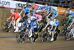 © Licensed to London News Pictures. 19/02/2011. Elizabeth Armitstead (centre sky logo) of Great Britain competes in the Women's Omnium points Race at the UCI Track Cycling World Cup in Manchester this evening (19/02/2011). Photo credit should read: Reuben Tabner/LNP