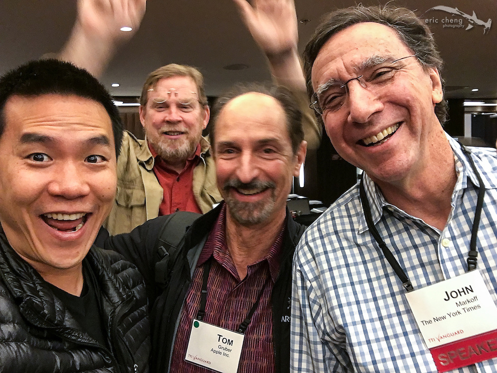 Eric Cheng,‎ Tom Gruber (Apple/Siri), John Markoff (NY Times) & photobomber Mike Hawley (@eg conference). TTI/Vanguard [next] 2015 conference at the Grand Hyatt in San Francisco