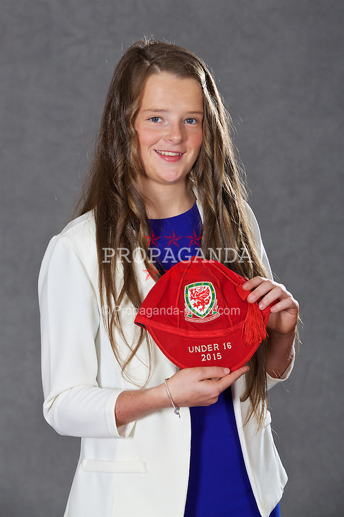 NEWPORT, WALES - Saturday, May 21, 2016: Ellie Burrows at the Under-16's cap presentation at the Celtic Manor Resort. (Pic by David Rawcliffe/Propaganda)