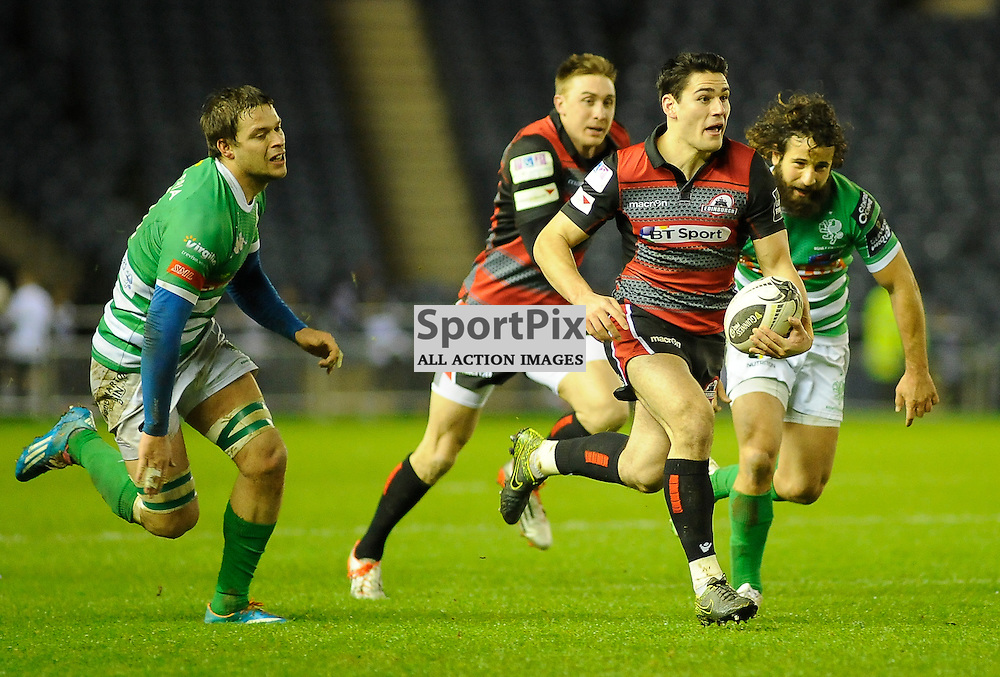 Sam Hidalgo-Clyne makes a break during the Edinburgh Rugby v Treviso Guinness PRO12 game, ......(c) COLIN LUNN | SportPix.org.uk