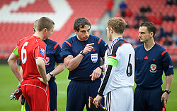 LIVERPOOL, ENGLAND - Tuesday, December 9, 2014: Welsh referee Bryn Markham-Jones with Liverpool's captain Jordan Rossiter and FC Basel's captain Manuel Weber during the UEFA Youth League Group B match at Langtree Park. (Pic by David Rawcliffe/Propaganda)