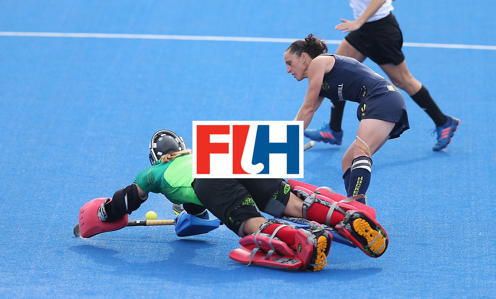 LONDON, ENGLAND - JUNE 26: Jackie Briggs of USA saves a penalty from Madonna Blyth of Australia in the shootout during the FIH Women's Hockey Champions Trophy 2016 3rd-4th place match between Australia and USA at Queen Elizabeth Olympic Park on June 26, 2016 in London, England.  (Photo by Alex Morton/Getty Images)