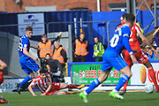 Joe Bunney's assist for the Ian Henderson goal during the EFL Sky Bet League 1 match between Rochdale and Sunderland at Spotland, Rochdale, England on 6 April 2019.
