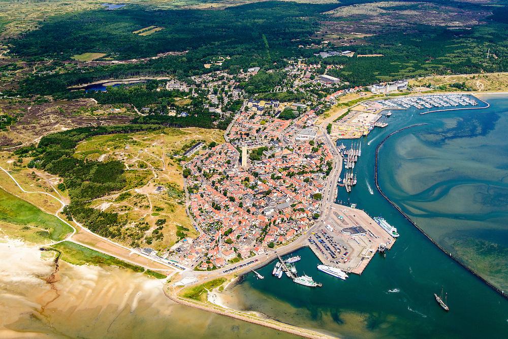 Nederland, Friesland, Terschelling, 05-08-2014;  West-Terschelling, overzicht. Wadden island Terschelling.<br /> luchtfoto (toeslag op standard tarieven);<br /> aerial photo (additional fee required);<br /> copyright foto/photo Siebe Swart