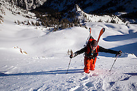 Christopher Smith heads up to ski Lake Peak, Little Cottonwood Canyon, Wasatch Mountains, Utah, March 2014.