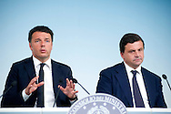 Rome may 10th 2016, cabinet meeting press conference. In the picture Matteo Renzi, and Carlo Calenda, new minister of economic development