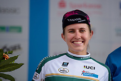 Alexis Ryan (CANYON//SRAM Racing) is awarded the most combatitive award at Thüringen Rundfarht 2016 - Stage 3 a 115km road race starting and finishing in Altenburg, Germany on 17th July 2016.