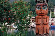 Alaska. Southeast. Wrangell, Shakes Island. Detail of Sun Totem.