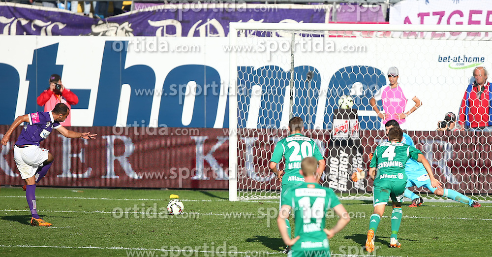 24.08.2014, Generali Arena, Wien, AUT, 1. FBL, FK Austria Wien vs SK Rapid Wien, 6. Runde, im Bild Elfmeter durch Omar Damari, (FK Austria Wien, #16), Maximilian Hofmann, (SK Rapid Wien, #20) , Florian Kainz, (SK Rapid Wien, #14), Thomas Schrammel, (SK Rapid Wien, #4) und Jan Novotna, (SK Rapid Wien, #1) // during Austrian Football Bundesliga Match, 6th Round, between FK Austria Vienna and SK Rapid Vienna at the Generali Arena, Vienna, Austria on 2014/08/24. EXPA Pictures © 2014, PhotoCredit: EXPA/ Thomas Haumer