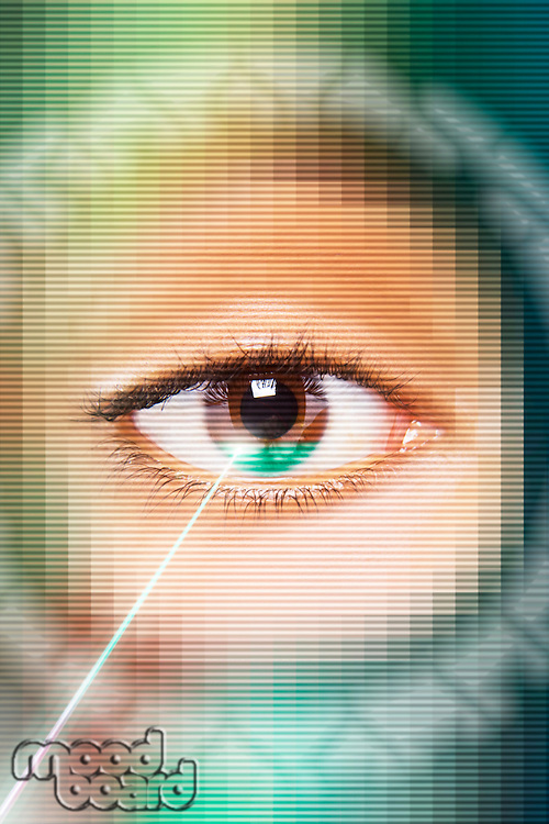 Laser beam on eye, close-up