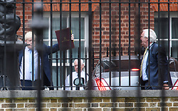 © Licensed to London News Pictures. 09/09/2019. London, UK. BORIS JOHNSON (left) and SIR EDWARD LISTER (RIGHT) are seen arriving at 10 Downing Street in Westminster, London following a trip to Ireland. British Prime Minister Boris Johnson os expected to prorogue Parliament this evening, in the run up to Britain's planned Brexit deadline of October 31st. Photo credit: Ben Cawthra/LNP