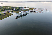 Aerial view of the USS Yorktown and Patriots Point in Mount Pleasant, SC.
