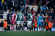 Players and officials shake hands at  full time during the EFL Sky Bet League 2 match between Bradford City and Plymouth Argyle at the Utilita Energy Stadium, Bradford, England on 29 February 2020.