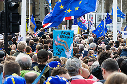 People cram into Parliament Square as organisers claim that up to a million people from across the UK march from Park Lane to Parliament demanding a People's Vote on the EU withdrawal agreement before the UK leaves the EU. London, March 23 2019