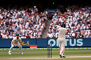 Joe Root tops edges a pull shot to lose his wicket during day three of the Australia v England fourth test at the Melbourne Cricket Ground, Melbourne, Australia on 28 December 2017. Photo by Mark  Witte.