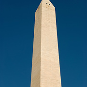 Washington Monument against a clear blue sky.