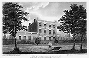 House at Camberwell, London, 1817. This was the residence of John Coakley Lettsom (1744-1815) successful English Quaker physician and philanthropist. From 'Walks Through London' by David Hughson. (London, 1817). Copperplate engraving.