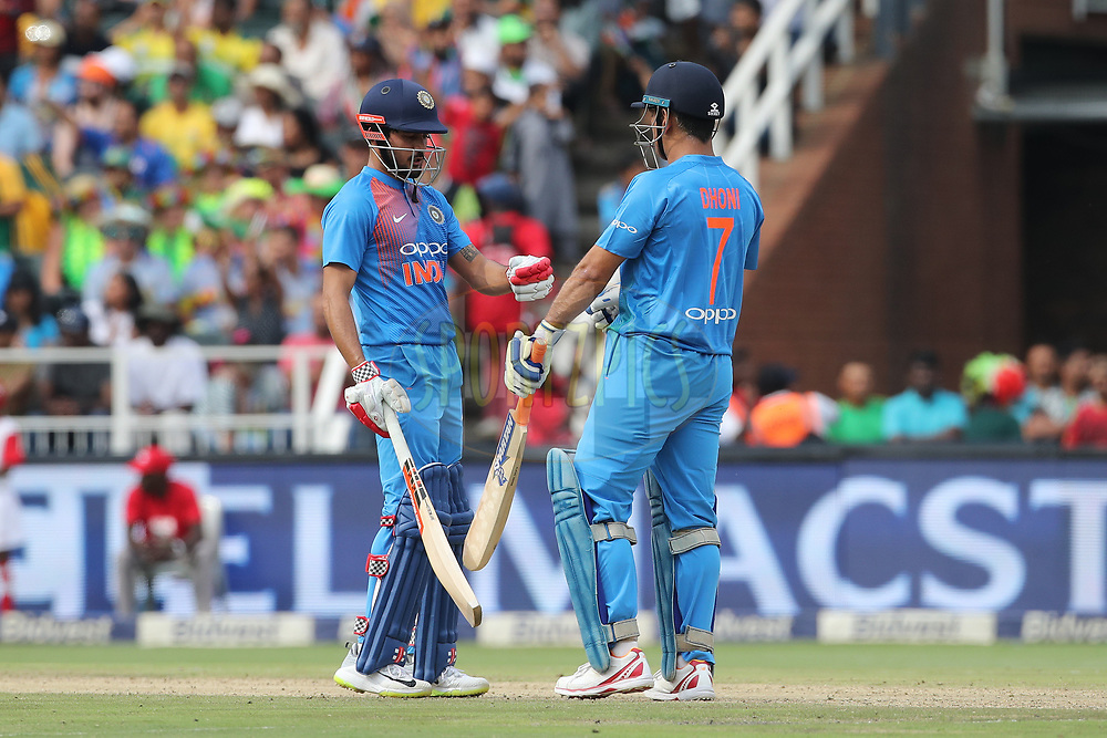 Manish Pandey of India and MS Dhoni  of India during the 1st T20 International match between South Africa and India held at the Wanderers Stadium in Johannesburg, South Africa on the 18th February 2018<br /> <br /> Photo by: Ron Gaunt / BCCI / SPORTZPICS