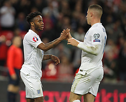 Raheem Sterling ( L ) of England celebrates with Ross Barkley of England after he scores to make it 2-0 - Mandatory byline: Paul Terry/JMP - 07966 386802 - 09/10/2015 - FOOTBALL - Wembley Stadium - London, England - England v Estonia - European Championship Qualifying - Group E