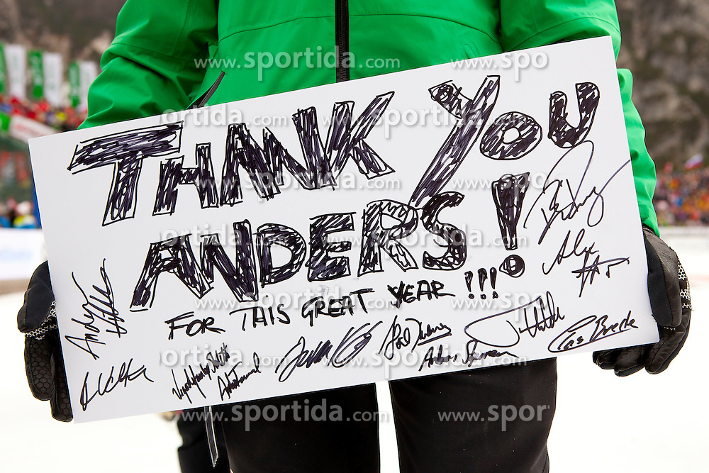Thank you Anders for this freat year after Flying Hill Individual competition at 4th day of FIS Ski Jumping World Cup Finals Planica 2012, on March 18, 2012, Planica, Slovenia. (Photo by Urban Urbanc / Sportida.com)