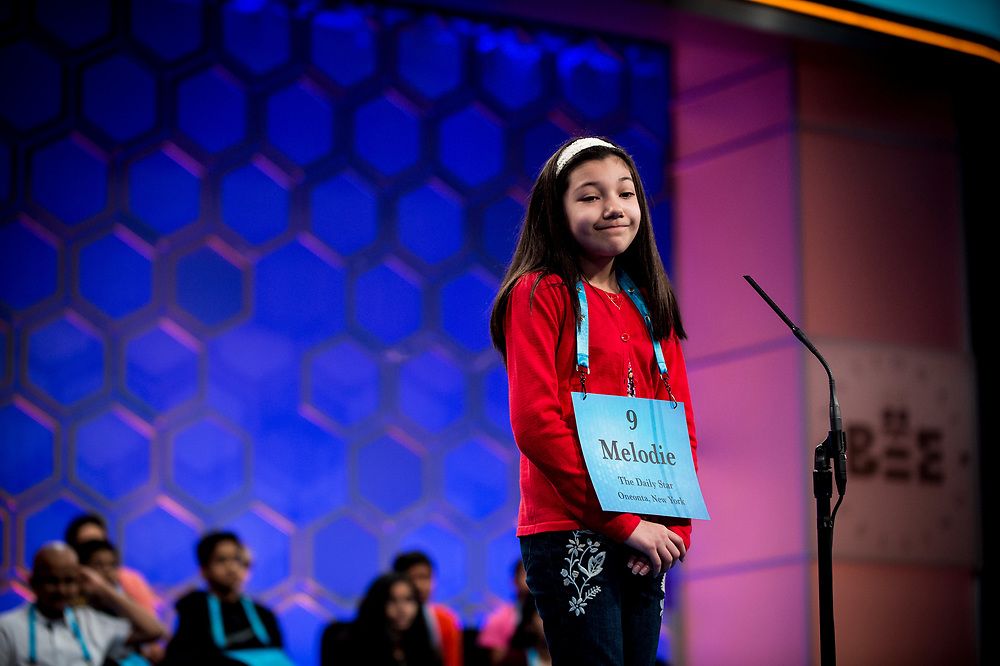 Melodie Loya, 12, from Bainbridge, N.Y., reacts as she is eliminated in the finals of the 2017 Scripps National Spelling Bee on Thursday, June 1, 2017 at the Gaylord National Resort and Convention Center at National Harbor in Oxon Hill, Md.      Photo by Pete Marovich/UPI