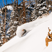 Tanner Flannagan skis blower cold smoke winter powder in the Tetons.