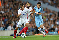 Football - 2016 / 2017 Champions League - Qualifying Play-Off, Second Leg: Manchester City [5] vs. Steaua Bucharest [0]<br /> <br /> Jesus Nevas of Manchester City and Marko Momcilovic of FC Steaua Bucharest during the match, at the Ethihad Stadium.<br /> <br /> COLORSPORT/LYNNE CAMERON