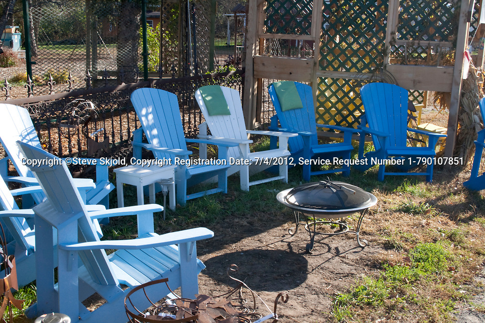 Group of Adirondack chairs for sale. Garden Gate at Crabtree's, Marine on Saint Croix Minnesota MN USA