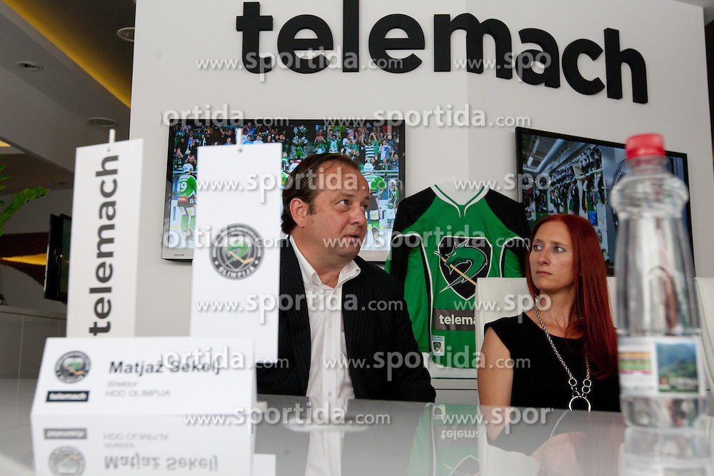 Matjaz Sekelj and Ditka Maucec of UPC Telemach at HDD UPC Telemach Olimpija Press Conference about new main sponsor UPC Telemach as main sponsor of HDD Olimpija, on June 20, 2012 at UPC Telemach, Ljubljana, Slovenia. (Photo By Matic Klansek Velej / Sportida)