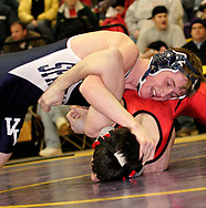 Ryan White-Leonard (top,) from Valley View defeated Tony Ewers, from Brookville in the first round of the 135-pound weight class, during the 2007 S.W.B.L Wrestling Championships at Eaton High School, Friday, February 9th.