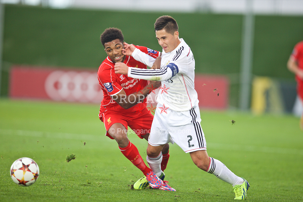 MADRID, SPAIN - Tuesday, November 4, 2014: Liverpool's Jerome Sinclair in action against Real Madrid CF's Alvaro Tejero during the UEFA Youth League Group B match at Ciudad Real Madrid. (Pic by David Rawcliffe/Propaganda)