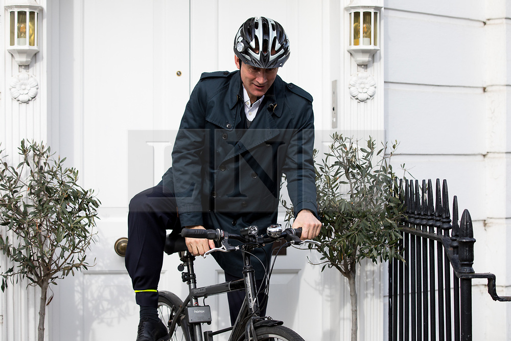 © Licensed to London News Pictures. 03/05/2018. London, UK. Health and Social Care Secretary Jeremy Hunt leaves his home this morning. Hunt yesterday said that 450,000 patients in England missed crucial breast cancer screenings due to computer error in 2009, causing as many as 270 women to have had their lives cut short. The government has ordered an independent inquiry into the scandal. Photo credit : Tom Nicholson/LNP